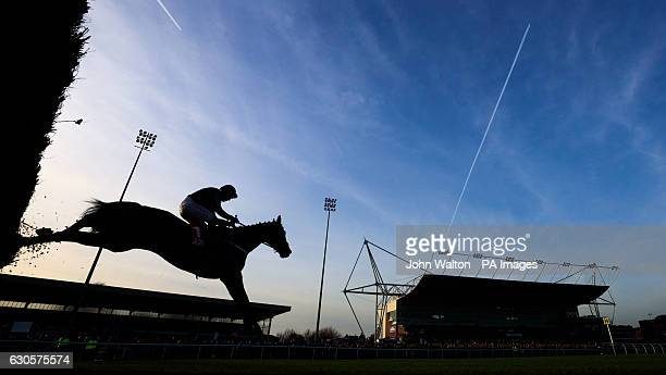 Altior ridden by Noel Fehily is silhouetted as they jump over a fence before winning the 32Redcom Wayward Lad Novicesâ Chase during day two of the...