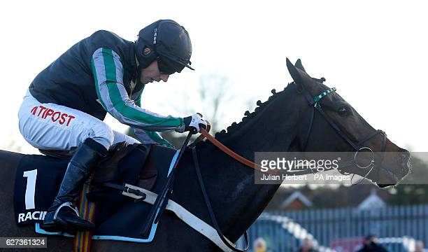 Altior ridden by Noel Fehily pulls away from the last fence before going on to win The Racing Post Henry VIII Novices' Steeple Chase Race run during...