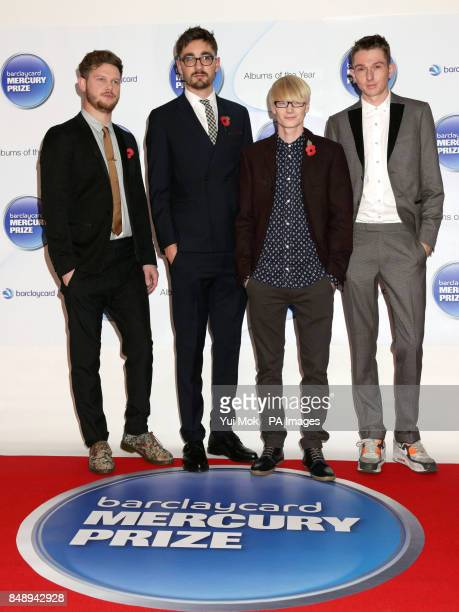 AltJ Joe Newman Gus UngerHamilton Gwil Sainsbury and Thom Green arriving at the Mercury Prize at the Roundhouse in Camden north London