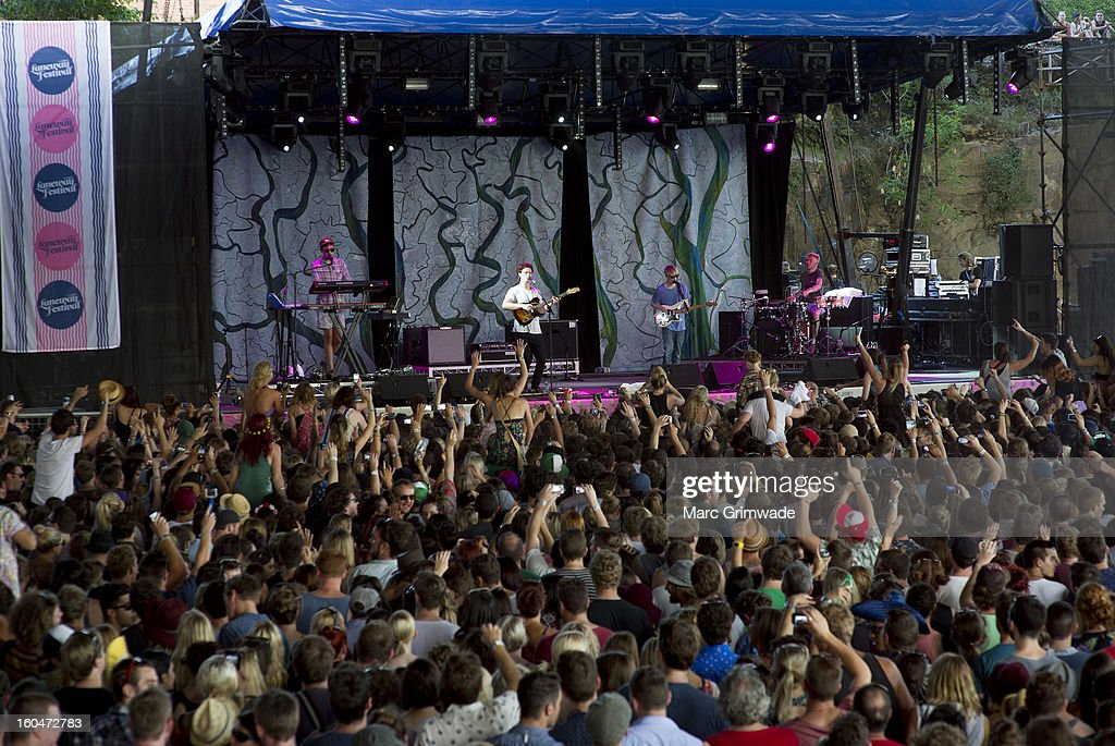 <a gi-track='captionPersonalityLinkClicked' href=/galleries/search?phrase=Alt-J&family=editorial&specificpeople=8305901 ng-click='$event.stopPropagation()'>Alt-J</a> perform for fans at St Jerome's Laneway Festival 2013 at the RNA Showgrounds on February 1, 2013 in Brisbane, Australia.