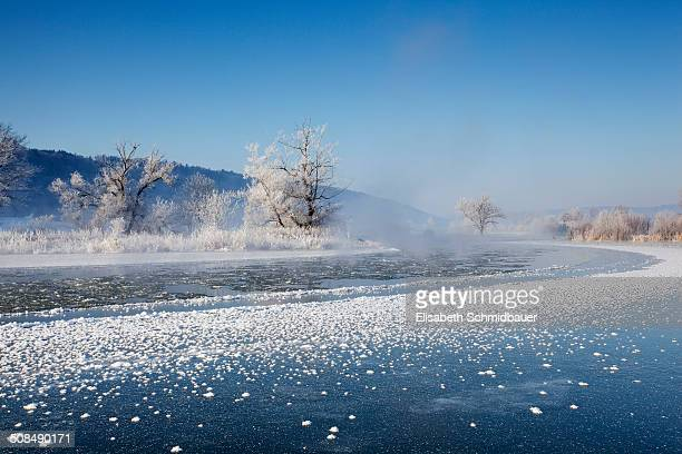 Altmuehl river near Kottingwoerth in winter, Altmuehltal valley, Bavaria, Germany, Europe