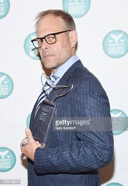 Alton Brown poses with Shorty Award during the 7th Annual Shorty Awards on April 20 2015 in New York City