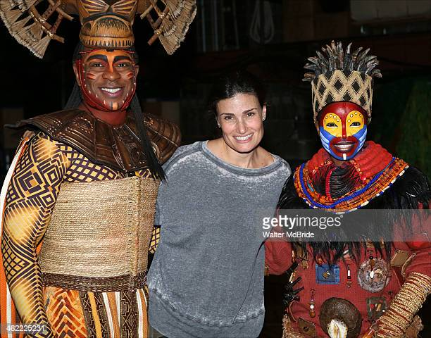 Alton Fitzgerald White as 'Mufasa' Idina Menzel and Mukelisiwe Goba as 'Rafiki' pose backstage after a performance of 'The Lion King' on Broadway at...