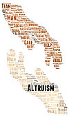Altruism word cloud shape concept