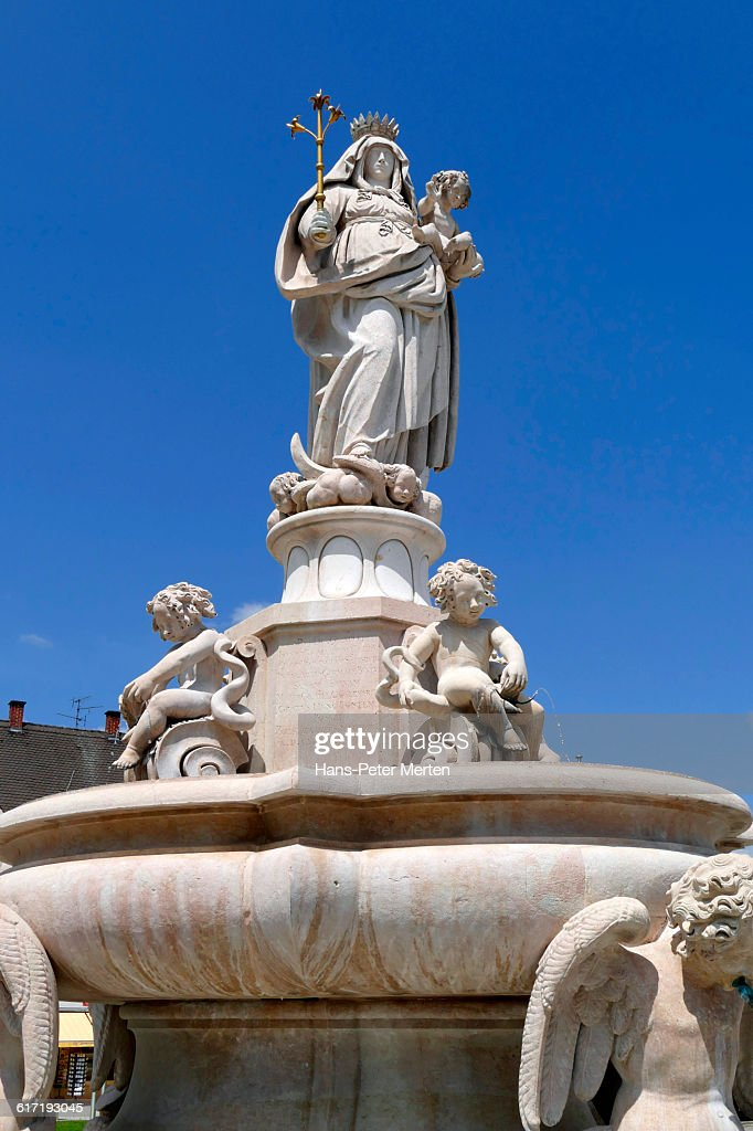 Altötting, statue of the Virgin Mary, Kapellplatz : Stock Photo