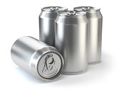Aluminium beer cans  isolated on white. 3d illustration