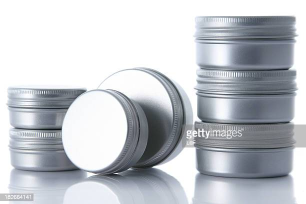 Aluminium cans [two stacks]
