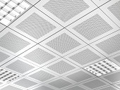 Aluminium panel suspended ceiling consisting of square panels.