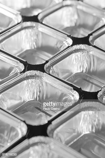 Aluminium trays (close-up)