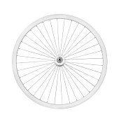 Aluminum bicycle wheel without tire. Top view, isolated on white, clipping path included