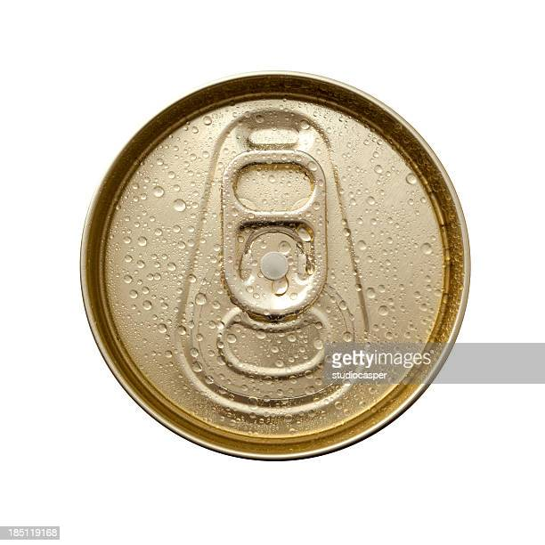 aluminum can top macro with water drops