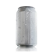 Aluminum can without labels or marks, showing condensation drops and ice chips that show freshness to the eye. Ready to be used in product mock ups.