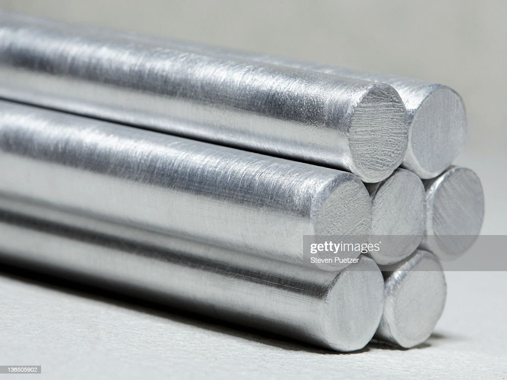 Aluminum cylinders stacked up, close-up
