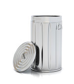 Aluminum garbage can with lid resting on the side on white