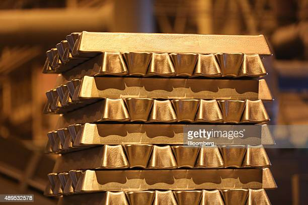 Aluminum ingots sit stacked in the foundry at the Irkutsk aluminium smelting plant operated by United Co Rusal in Shelekhov Russia on Monday Sept 21...