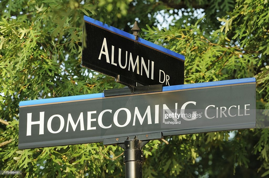 Alumni and homecoming street signs close up