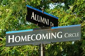 Alumni and homecoming street signs close up