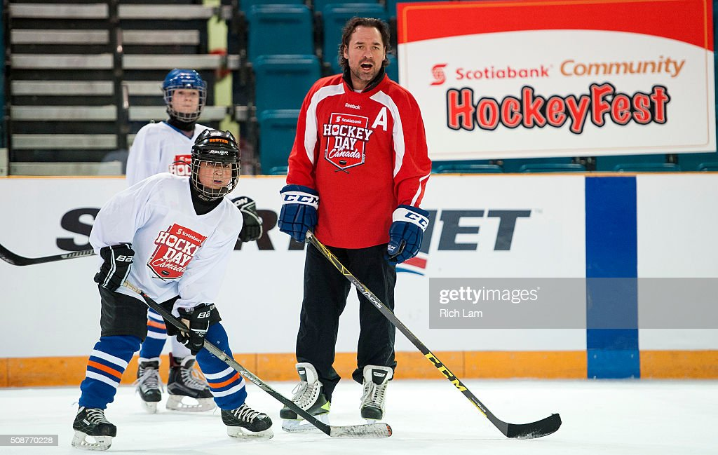 NHL Alumni Darcy Tucker coaches during a hockey clinic on Day 3 of 2016 Scotiabank Hockey Day in Canada on February 6, 2016 in Kamloops, British Columbia, Canada.