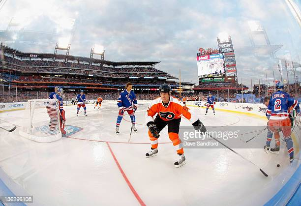 Alumni Jeremy Roenick of the Philadelphia Flyers play in the second period of the Alumni game prior to the 2012 Bridgestone NHL Winter Classic at...