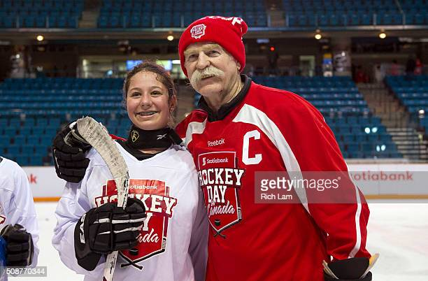 Alumni Lanny McDonald poses for a photo with a young fan after a hockey clinic on Day 3 of 2016 Scotiabank Hockey Day in Canada on February 6 2016 in...