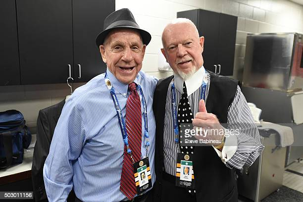 Alumni Tom McVie and Don Cherry of the Boston Bruins in the locker room before the alumni game on December 31 2015 during 2016 Bridgestone NHL Winter...