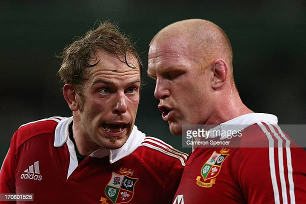 Alun Wyn Jones and Paul O'Connell of the Lions talk during the match between the Waratahs and the British Irish Lions at Allianz Stadium on June 15...