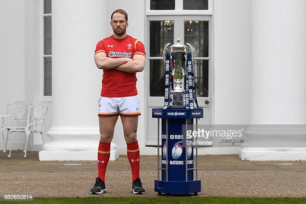 Alun Wyn Jones Captain of Wales poses with the Six Nations trophy during the 2017 RBS Six Nations launch at The Hurlingham Club on January 25 2017 in...