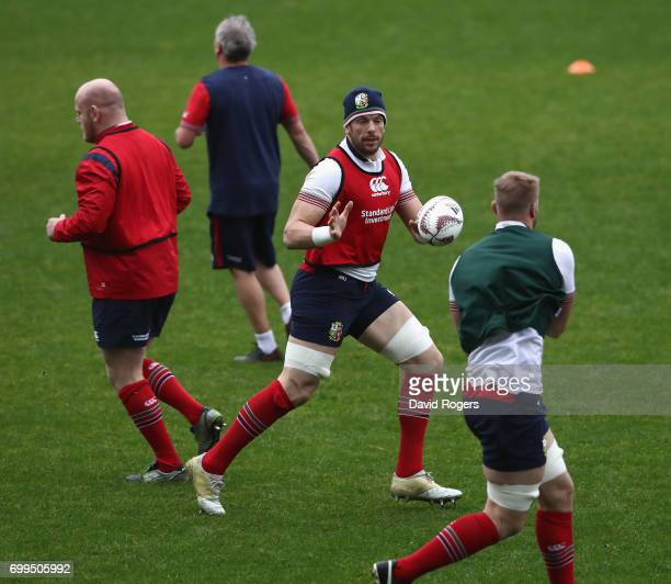 Alun Wyn Jones catches the ball during the British Irish Lions training session held at the QBE Stadium on June 22 2017 in Auckland New Zealand