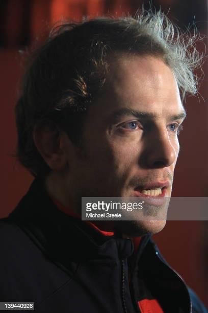 Alun Wyn Jones during the Wales rugby press conference at Vale Resort on February 21 2012 in Cardiff Wales