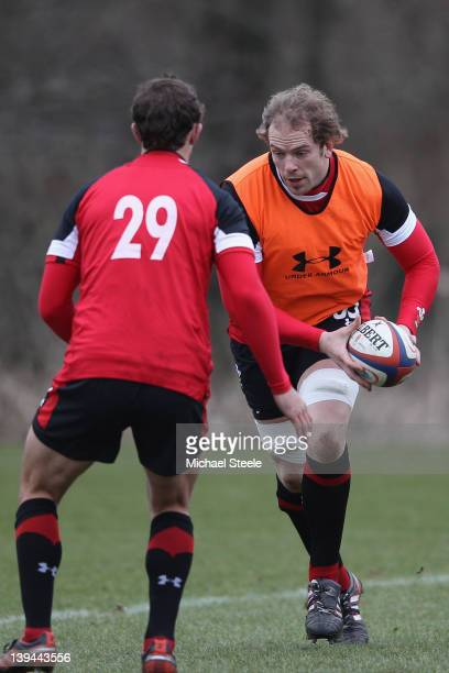 Alun Wyn Jones during the Wales rugby training session at Vale Resort on February 21 2012 in Cardiff Wales