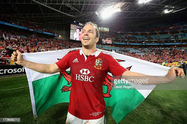 Alun Wyn Jones of the Lions celebrates after their victory during the International Test match between the Australian Wallabies and British Irish...