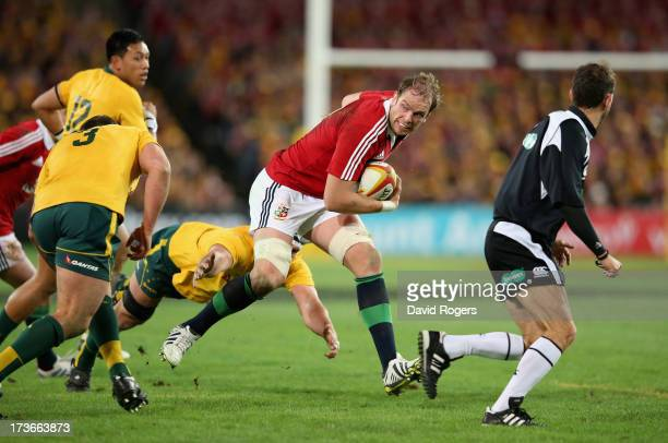 Alun Wyn Jones of the Lions charges upfield during the International Test match between the Australian Wallabies and British Irish Lions at ANZ...