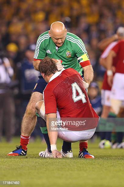 Alun Wyn Jones of the Lions is assisted during game two of the International Test Series between the Australian Wallabies and the British Irish Lions...