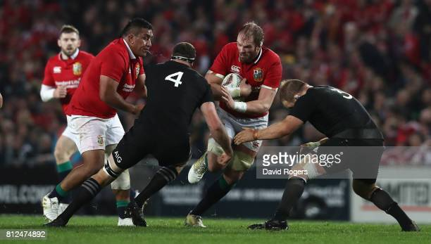 Alun Wyn Jones of the Lions is tackled during the Test match between the New Zealand All Blacks and the British Irish Lions at Eden Park on July 8...