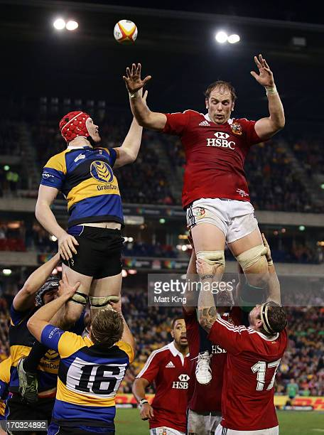 Alun Wyn Jones of the Lions jumps at the lineout during the match between Combined Country and the British Irish Lions at Hunter Stadium on June 11...