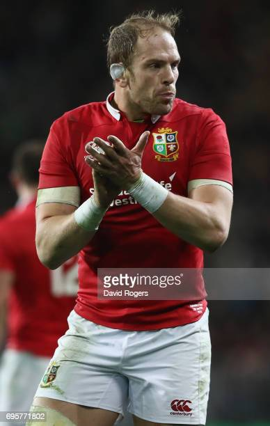 Alun Wyn Jones of the Lions looks on during the 2017 British Irish Lions tour match between the Highlanders and the British Irish Lions at Forsyth...