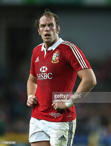 Alun Wyn Jones of the Lions looks on during the match between the NSW Waratahs and the British Irish Lions at Allianz Stadium on June 15 2013 in...