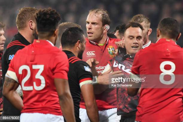 Alun Wyn Jones of the Lions reacting during the match between the Crusaders and the British Irish Lions at AMI Stadium on June 10 2017 in...