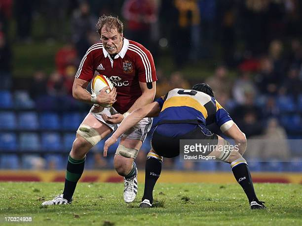 Alun Wyn Jones of the Lions runs with the ball during the match between Combined Country and the British Irish Lions at Hunter Stadium on June 11...