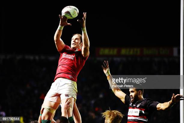 Alun Wyn Jones of the Lions secures lineout ball during the match between the New Zealand Provincial Barbarians and British Irish Lions at Toll...
