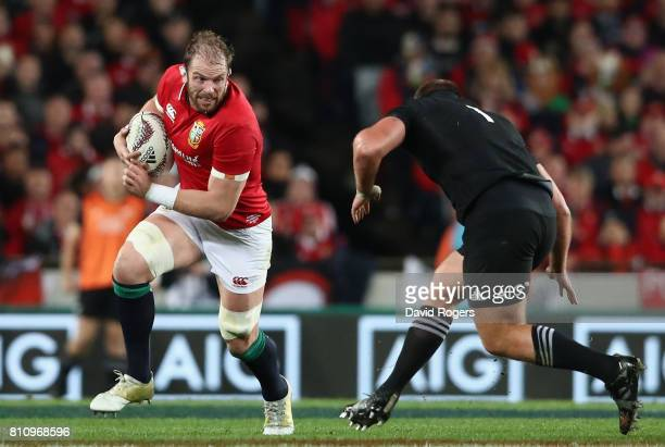 Alun Wyn Jones of the Lions takes on Joe Moody during the Test match between the New Zealand All Blacks and the British Irish Lions at Eden Park on...