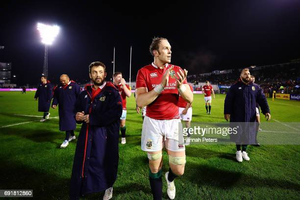 Alun Wyn Jones of the Lions thanks the crowd folling the match between the New Zealand Provincial Barbarians and British Irish Lions at Toll Stadium...