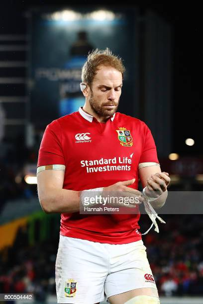 Alun Wyn Jones of the Lions walks off after losing the Test match between the New Zealand All Blacks and the British Irish Lions at Eden Park on June...