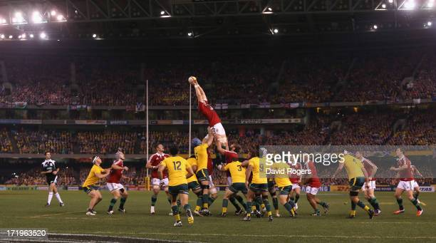 Alun Wyn Jones of the Lions wins the lineout during game two of the International Test Series between the Australian Wallabies and the British Irish...