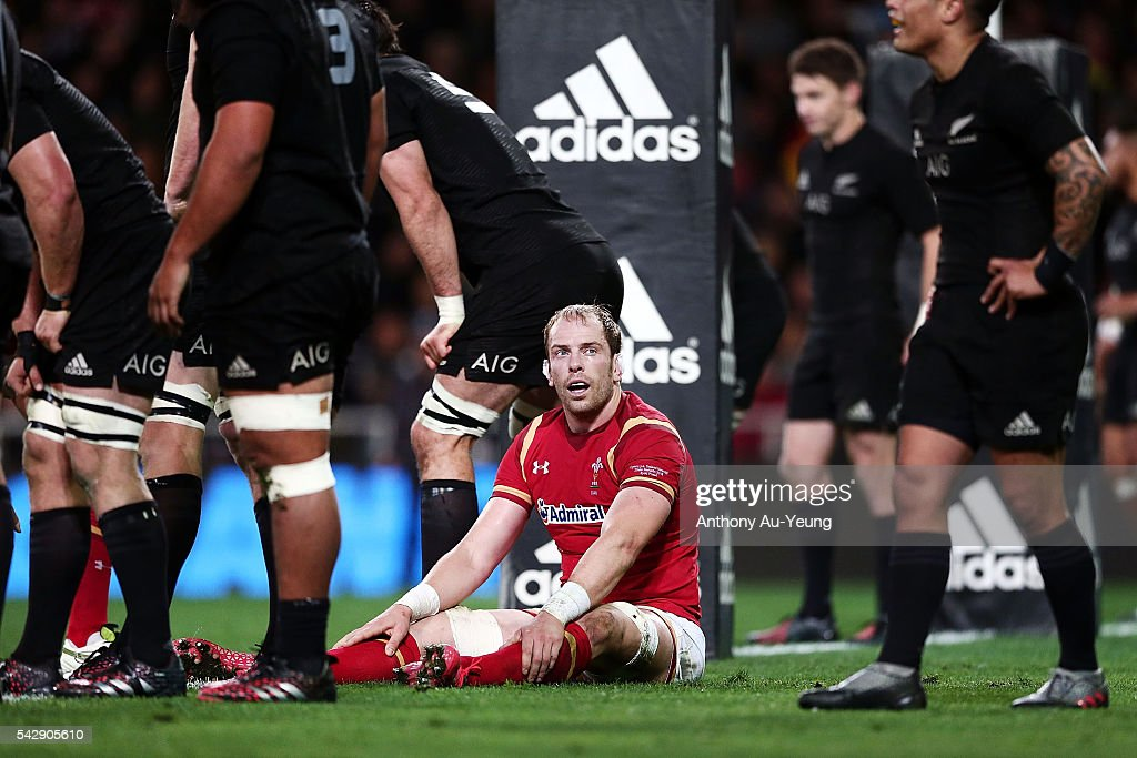 Alun Wyn Jones of Wales looks on during the International Test match between the New Zealand All Blacks and Wales at Forsyth Barr Stadium on June 25, 2016 in Dunedin, New Zealand.