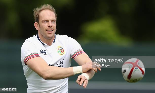Alun Wyn Jones passes the ball during the British and Irish Lions training session held at Carton House Golf Club on May 22 2017 in Maynooth Ireland