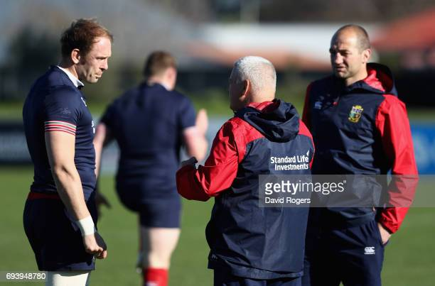 Alun Wyn Jones talks to Warren Gatland the Lions head coach and Steve Borthwick during the British Irish Lions training session held at Linwood Rugby...