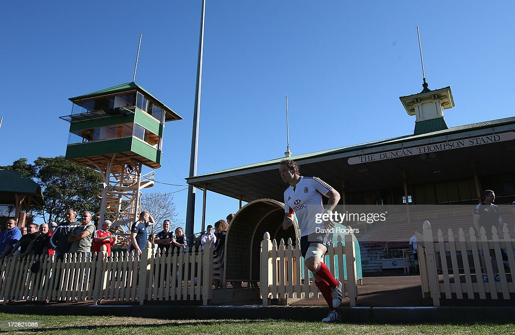 Alun Wyn Jones , the Lions captain,walks onto the field during the British and Irish Lions Captain's Run at North Sydney Oval on July 5, 2013 in Sydney, Australia.