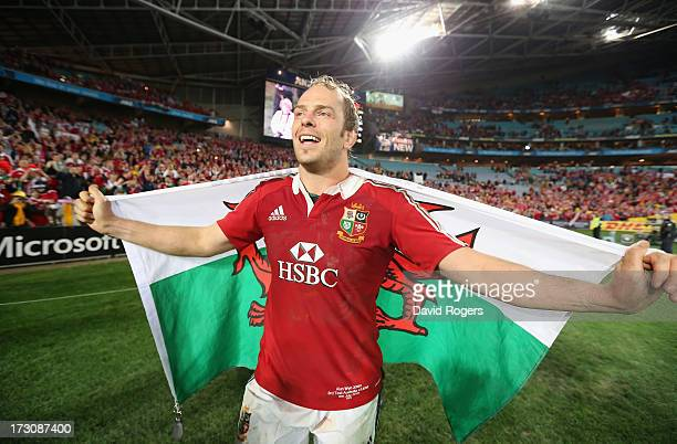 Alun Wyn Jones the Lions match captain celebrates after their victory during the International Test match between the Australian Wallabies and...