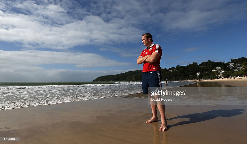Alun Wyn Jones, who will captain the British and Irish Lions in the third and final test against the Wallabies, poses on Noosa Beach on July 3, 2013 in Noosa, Australia.